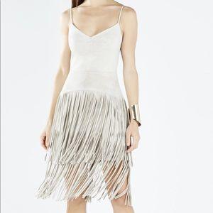 BCBG suede fringe dress.